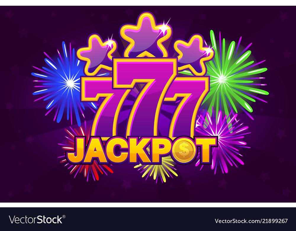 Logo jackpot and 777 shooting colored