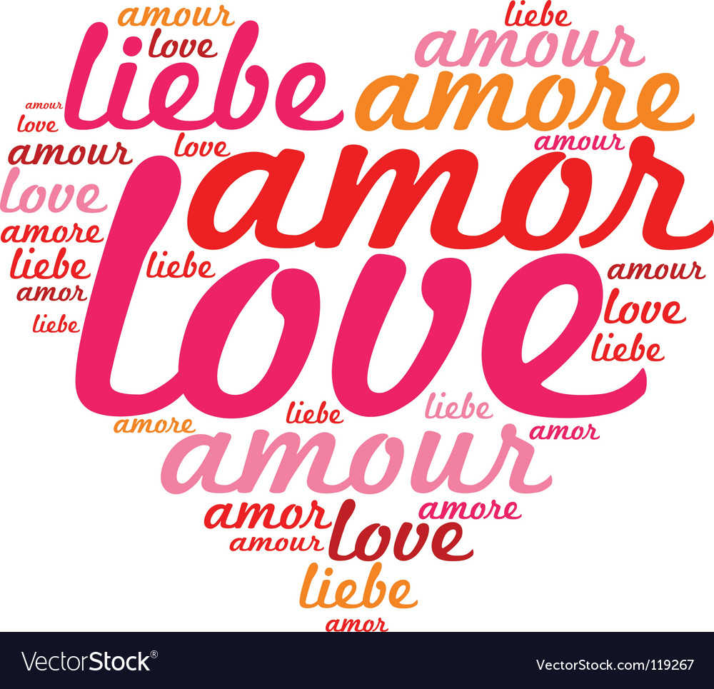 Love heart text vector image