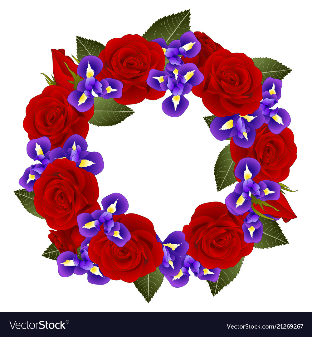 Red Rose And Iris Flower Wreath Royalty Free Vector Image
