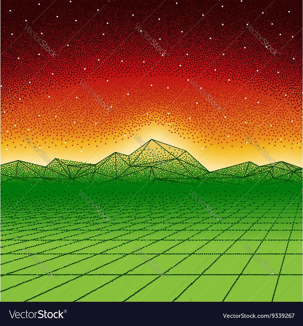 Retro hipster dotwork landscape with triangular