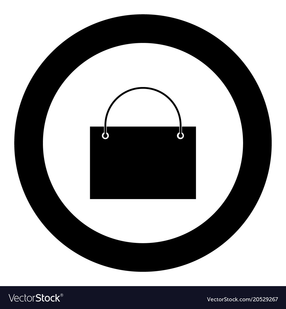 Shopping Bag Icon Black Color In Circle Royalty Free Vector