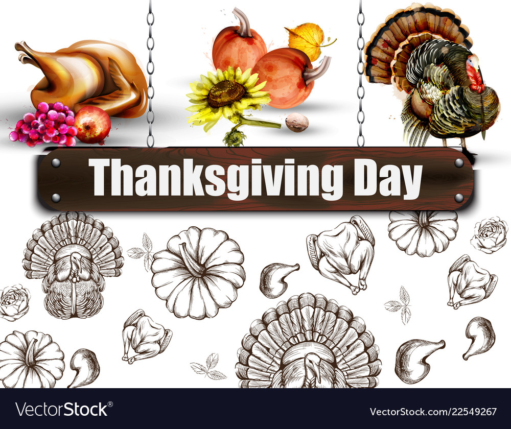 Thanksgiving day banner turkey and