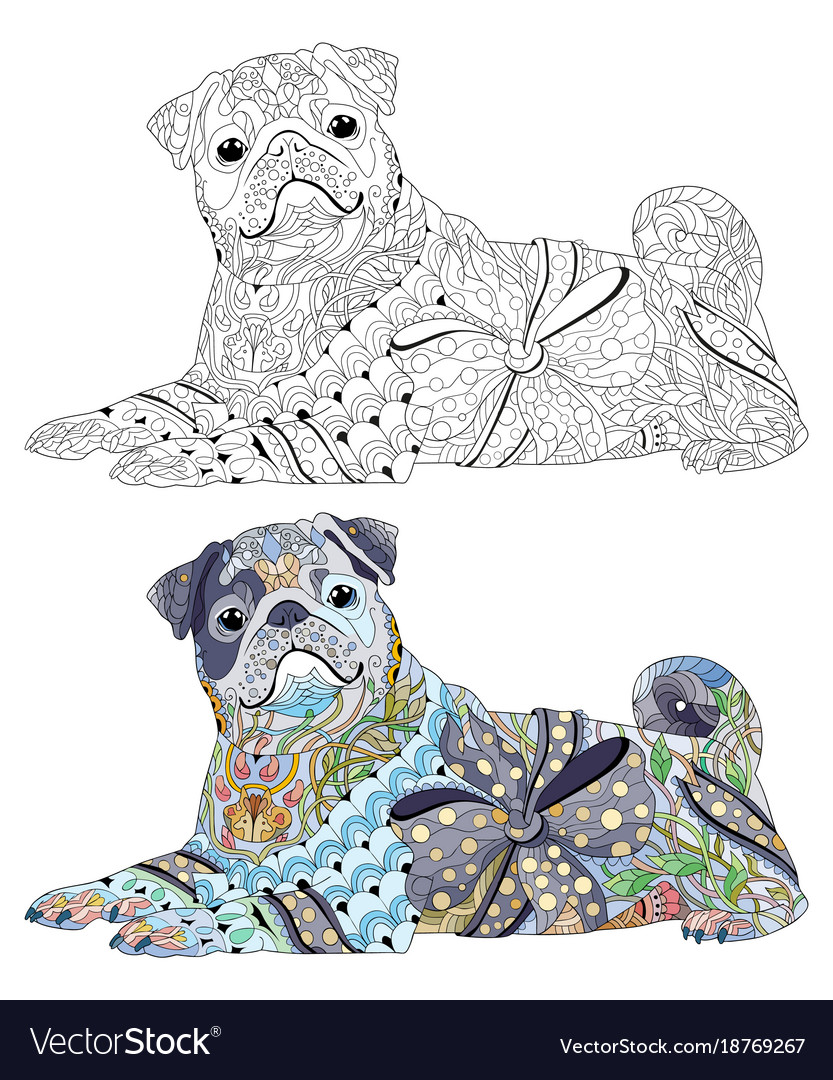 Zentangle stylized dog hand drawn decorative vector image