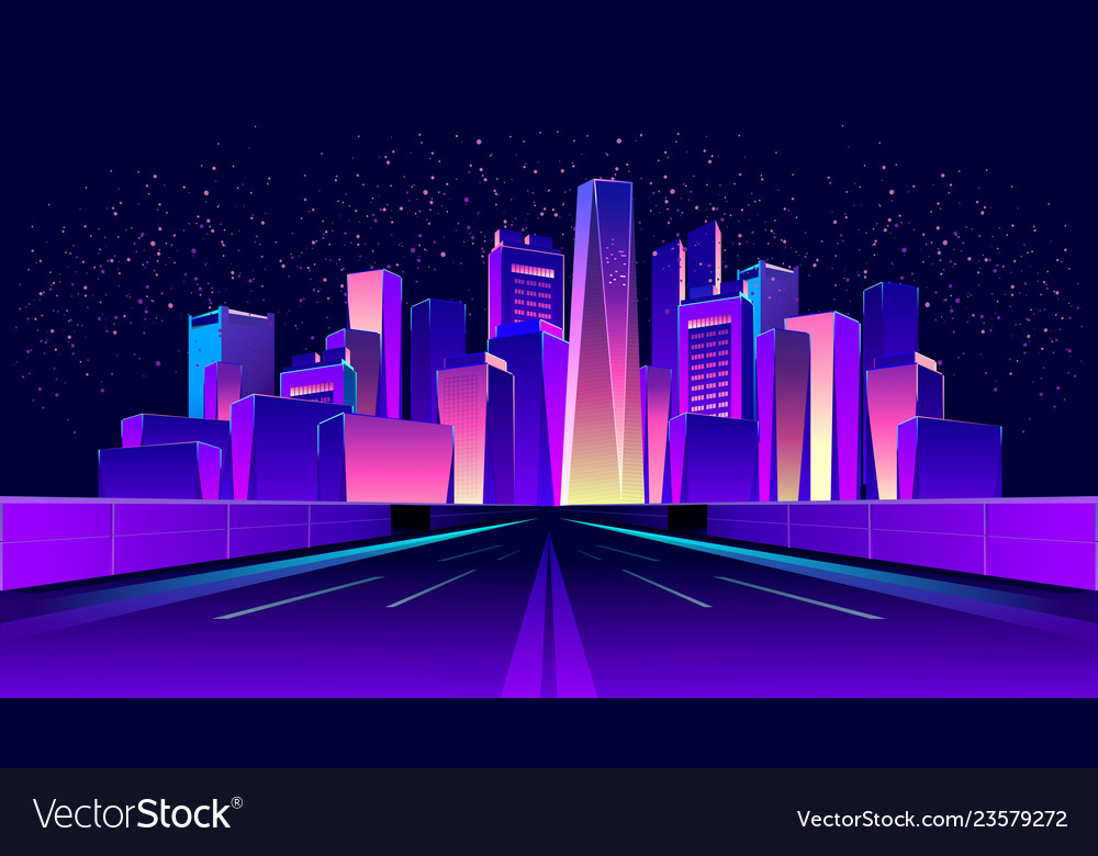Abstract Neon City Royalty Free Vector Image Vectorstock
