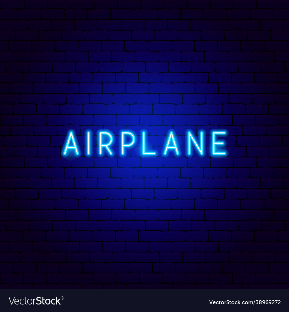 Airplane neon text
