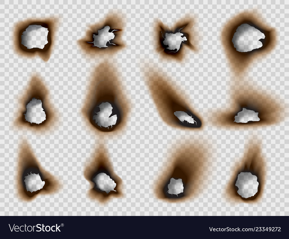 Burned holes in a paper realistic style set