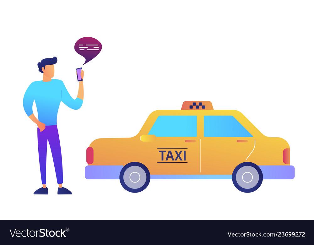Businessman calls a taxi using mobile app concept