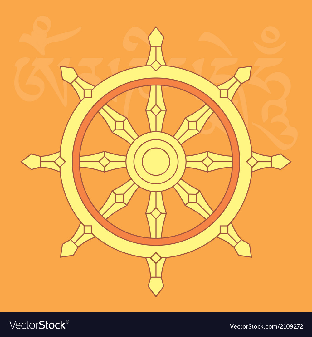 Dharma Wheel Buddhist Religious Symbol Royalty Free Vector