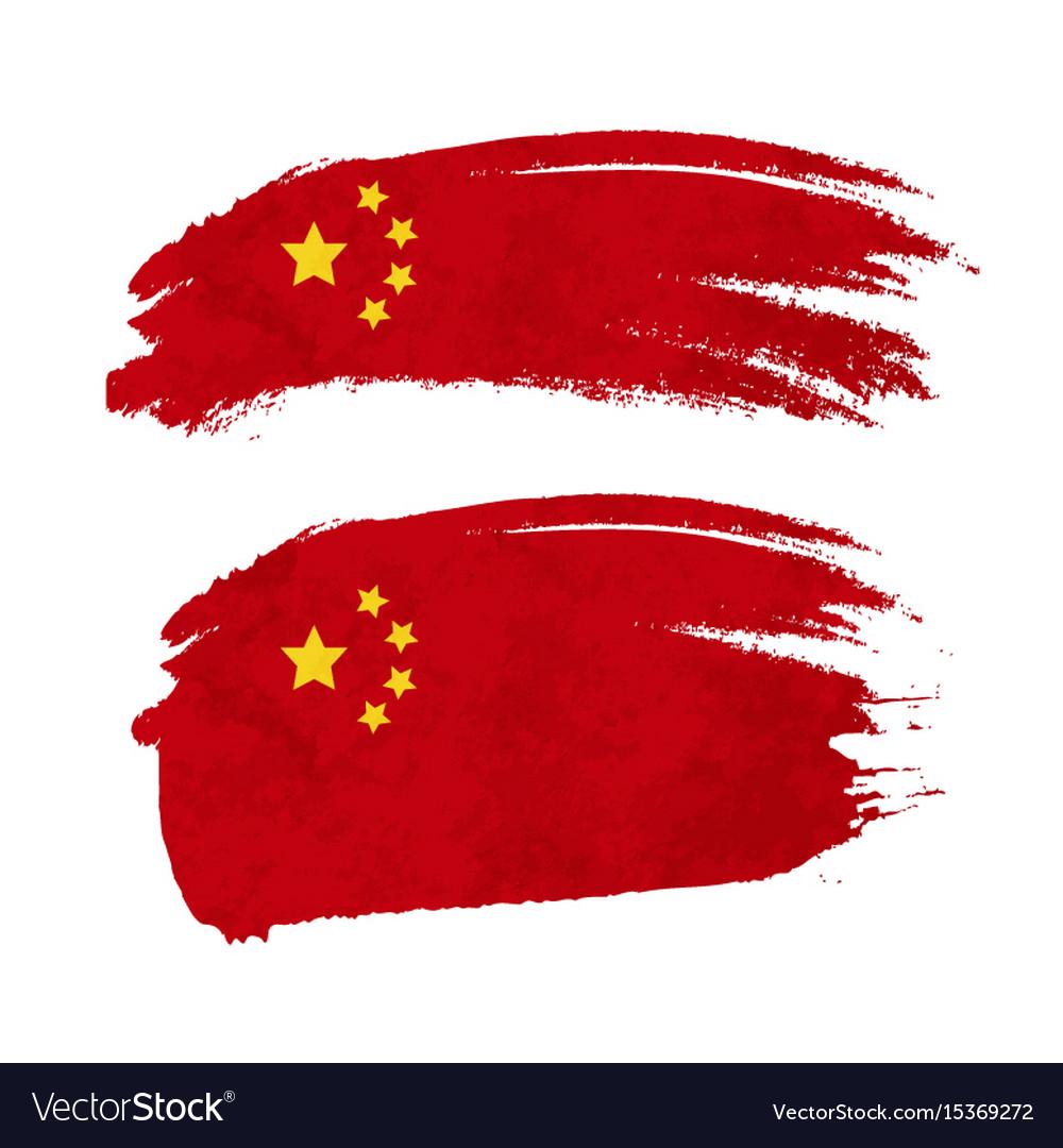 Grunge brush stroke with china national flag on