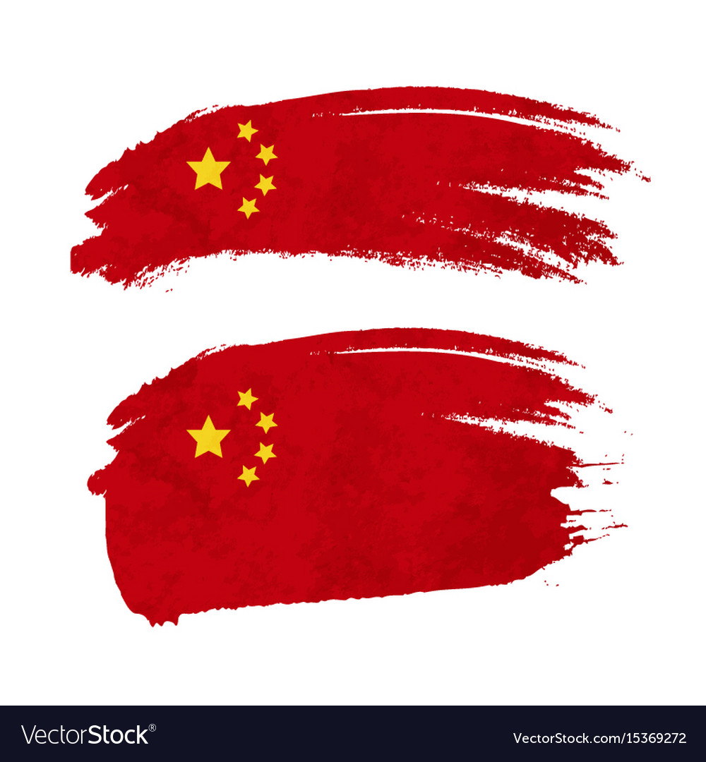 Grunge brush stroke with china national flag on vector image