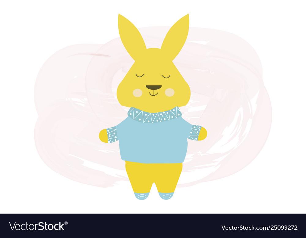 Happy cute rabbit in blue sweater - cartoon