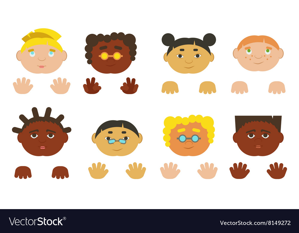 Kids faces and hands Different ethnics isolated