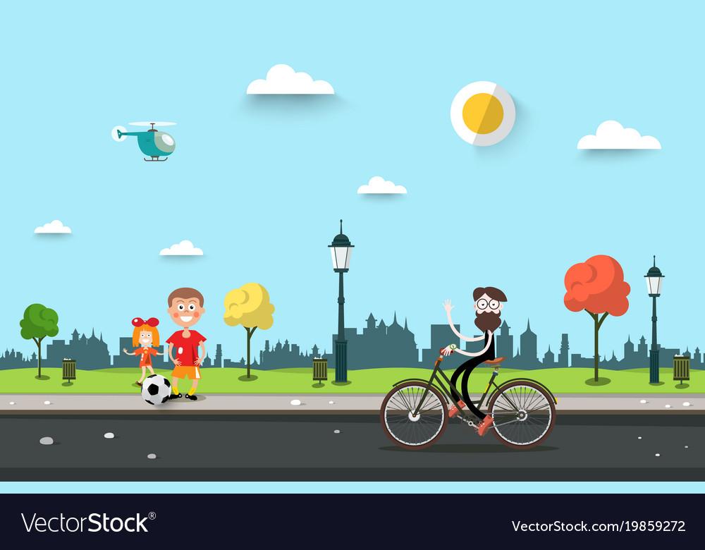 Man on bicycle with children on sidewalk flat