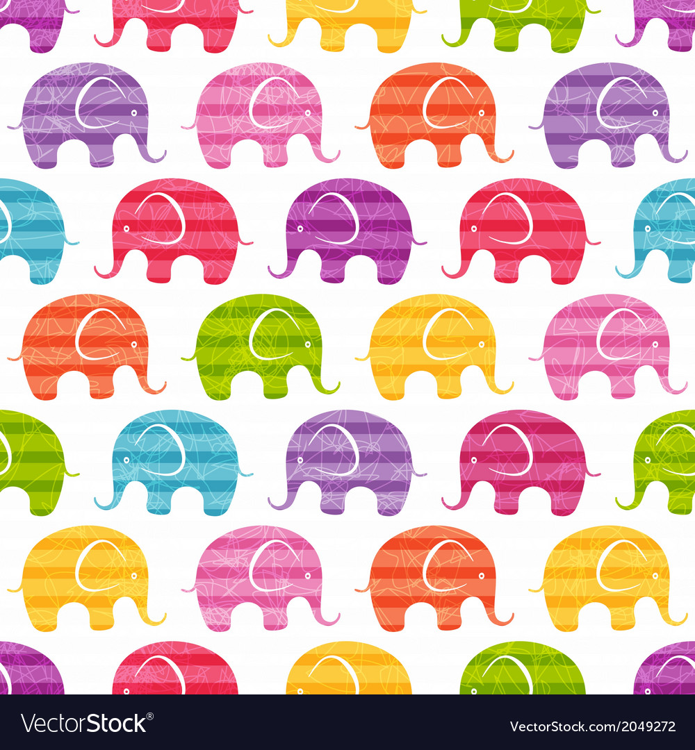 Seamless pattern with funny elephants