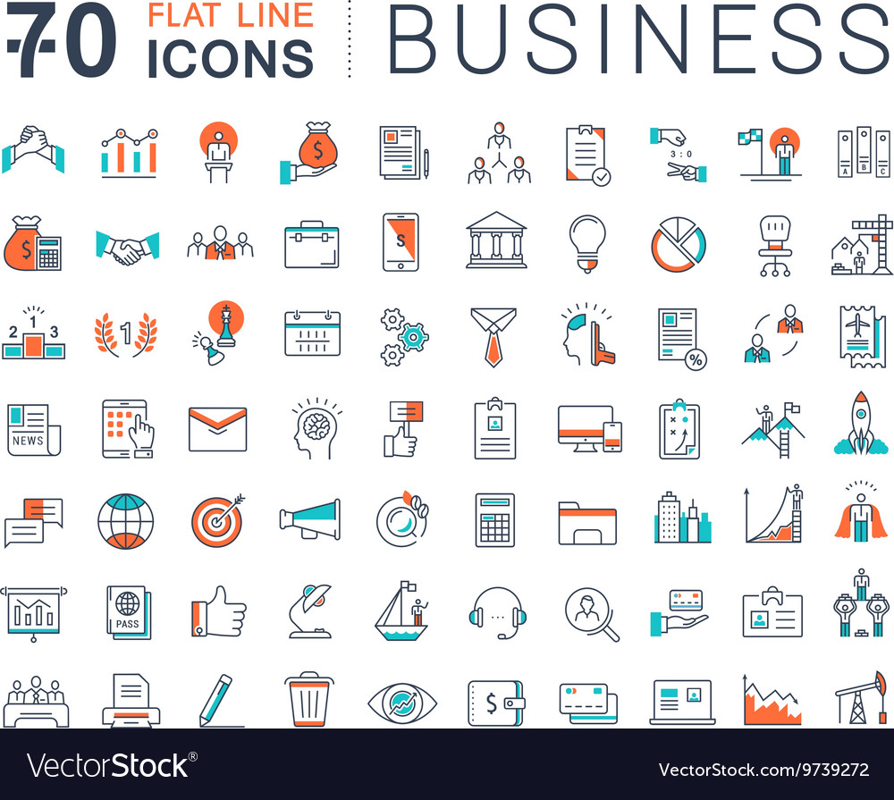 Set Flat Line Icons Business
