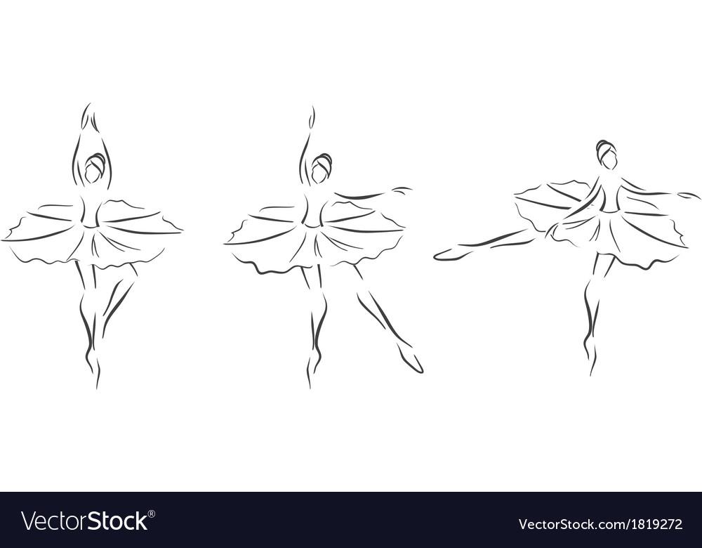 Set of ballerinas vector image
