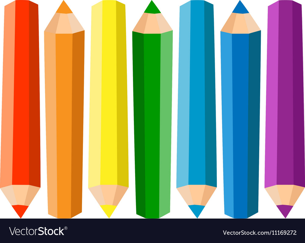 Set Of Seven Colored Pencils On White Background