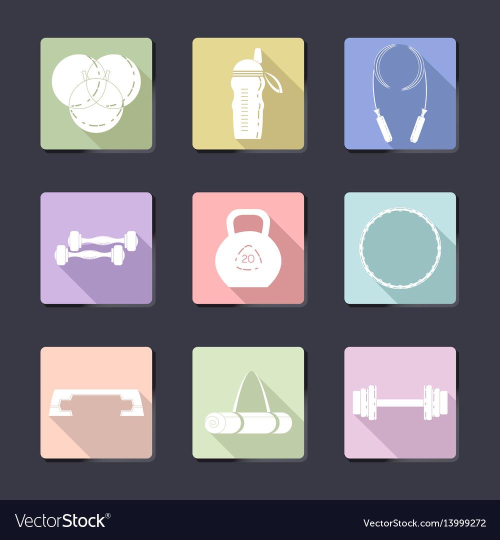 Sport icon set fitness equipment