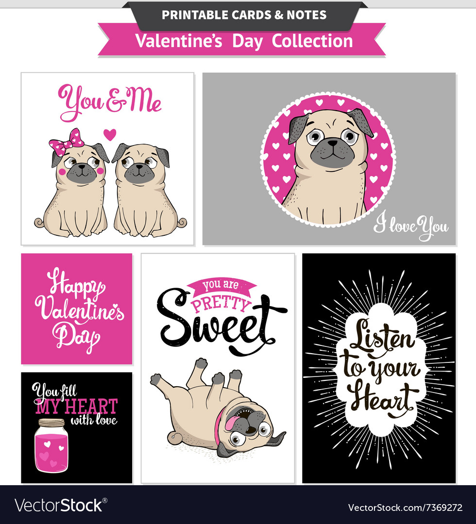 image about Funny Printable Valentines known as Valentines working day printable fixed wih amusing pugs