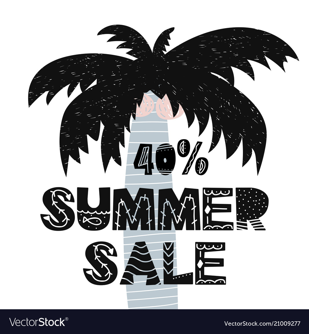 Advert card with lettering 40 summer sale wit palm