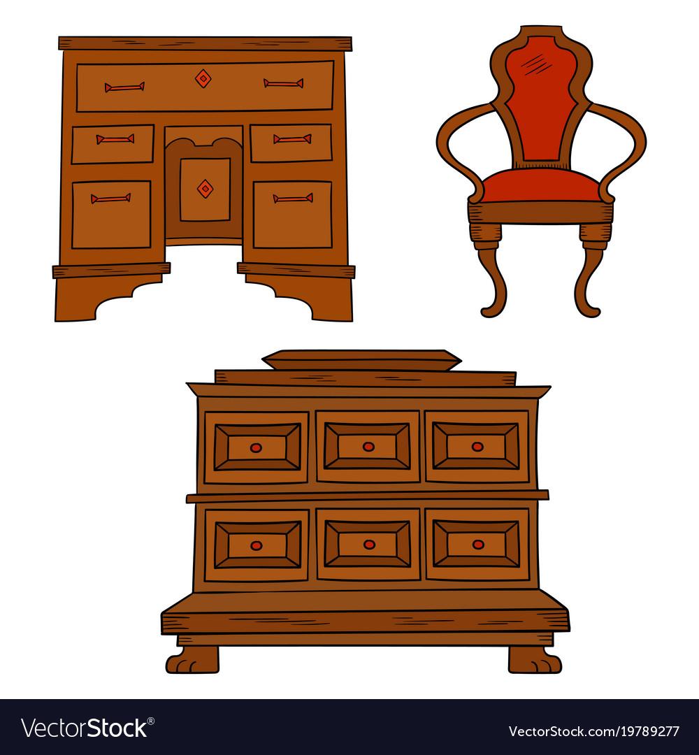 Antiqu furniture set - antique bureau table