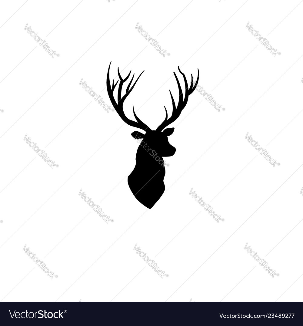 Deer head silhouette wild animal reindeer profile