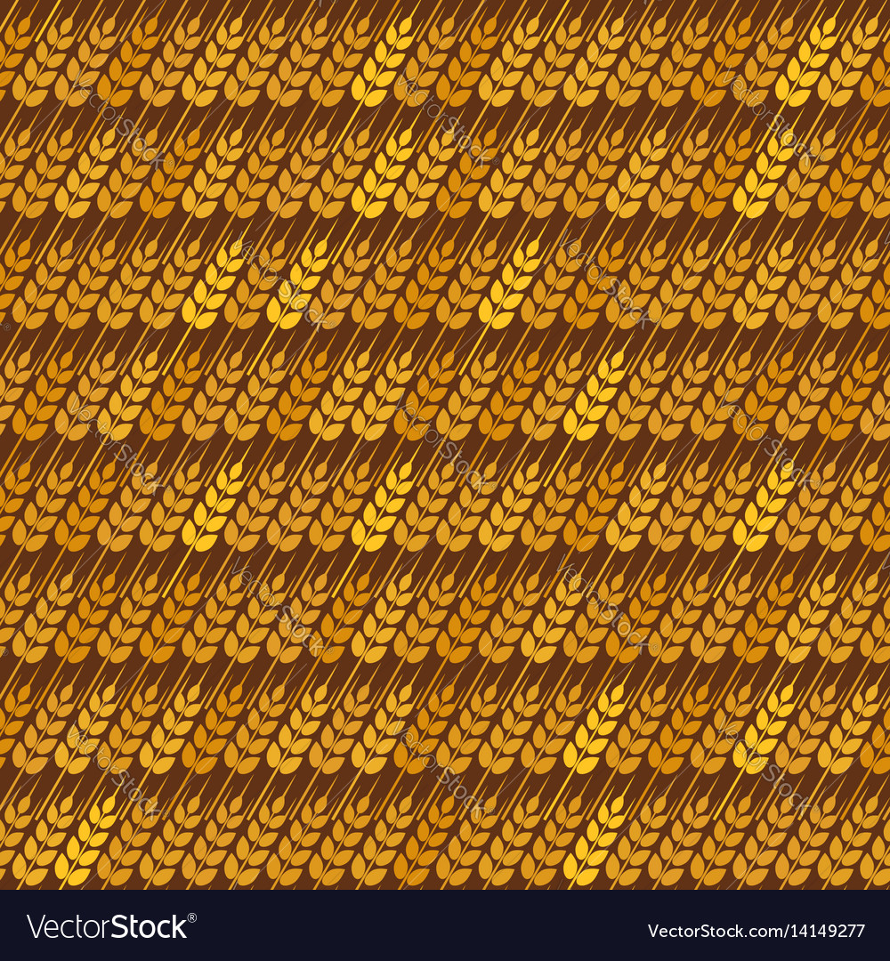 Golden diagonal wheat seamless pattern