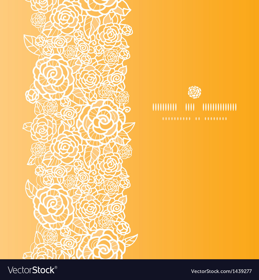 Golden lace roses vertical seamless pattern vector image