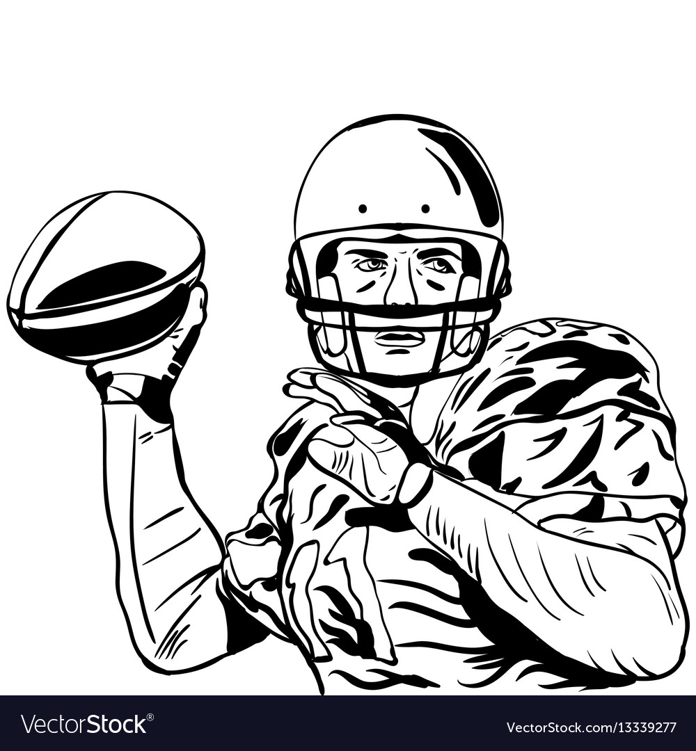 hand sketch of american football player royalty free vector Construction Worker Bathing hand sketch of american football player vector image