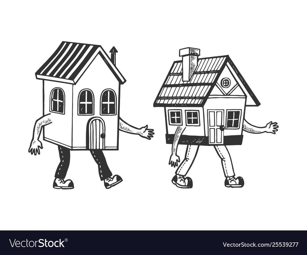 Houses walking on feet sketch engraving