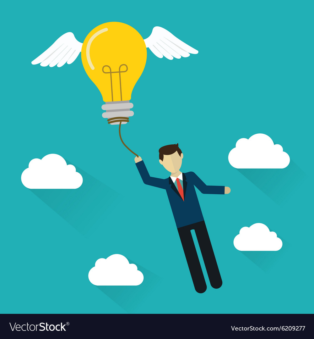 Idea concept flat design Business man with flying