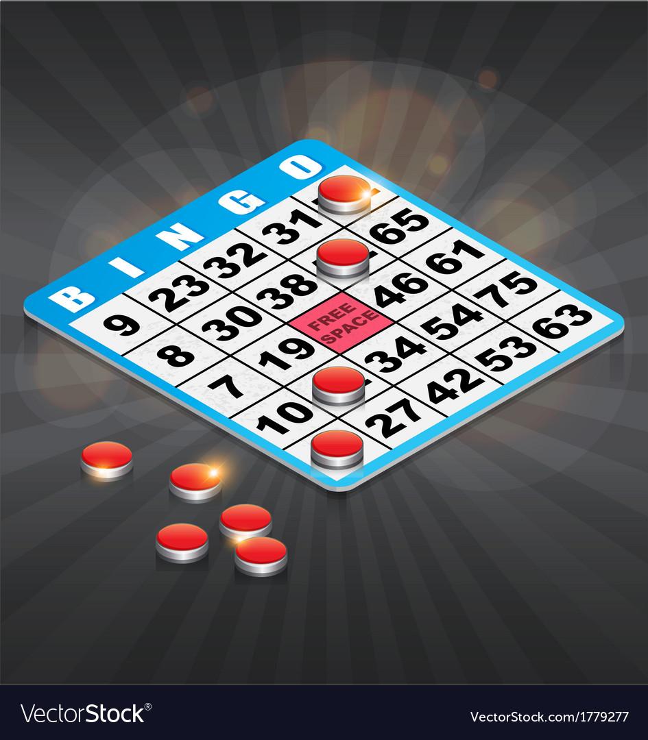 Isometric Bingo Card with winning chips