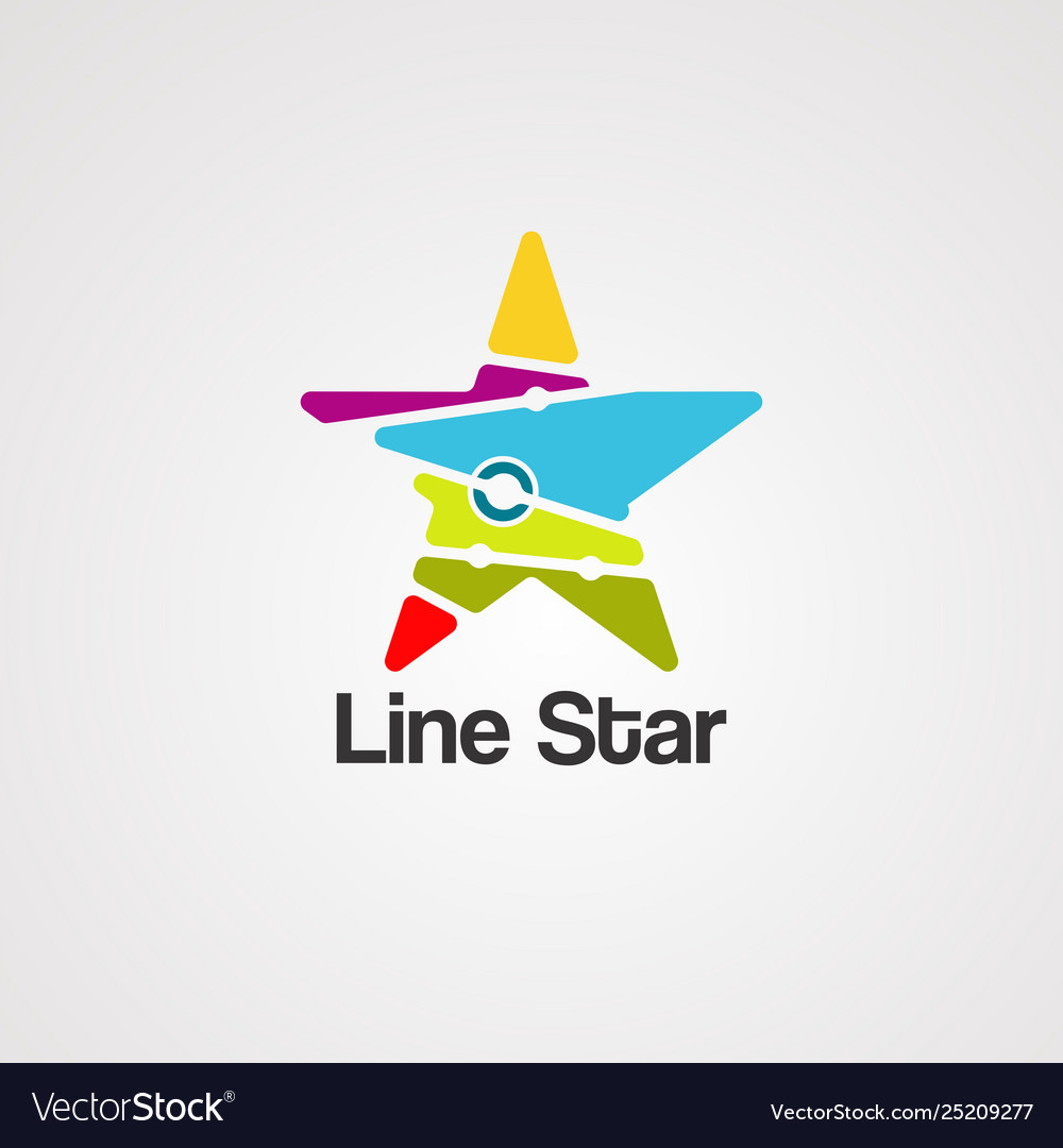 Line star logo icon element and template