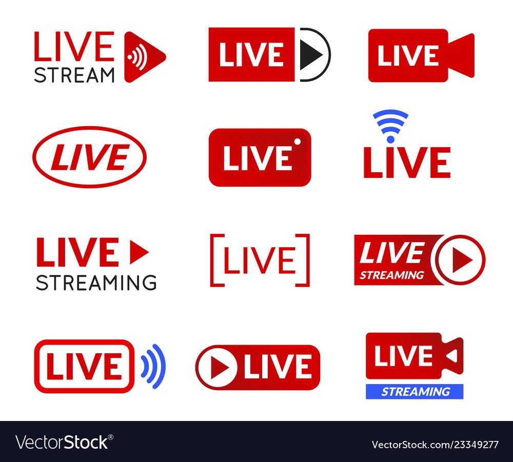 Live stream icon set online broadcasting symbol