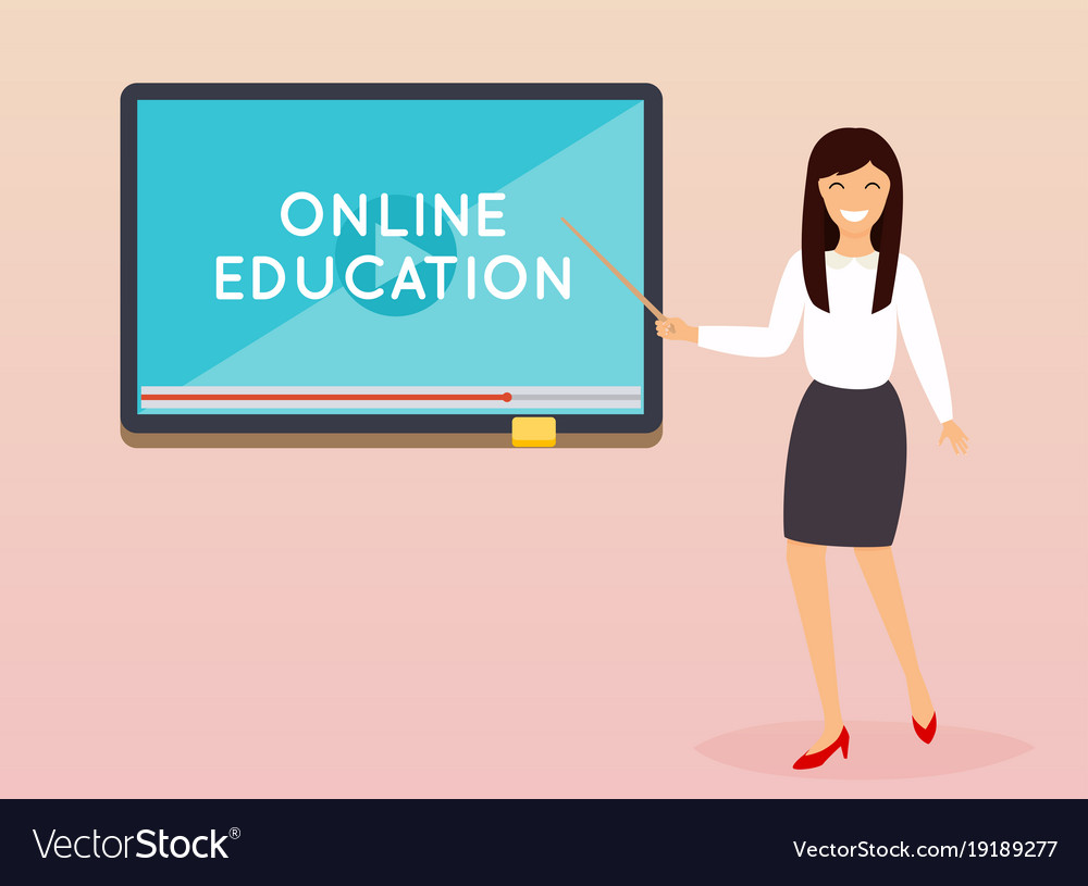 Online education concept teacher with tablet