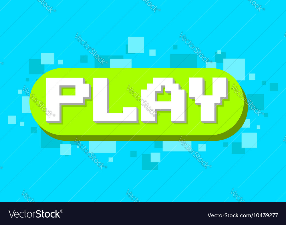 Pixel play button icon on green background design vector image