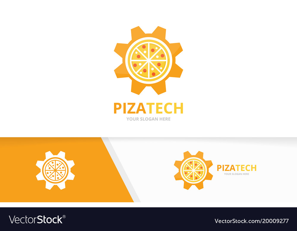 Pizza and gear logo combination food and