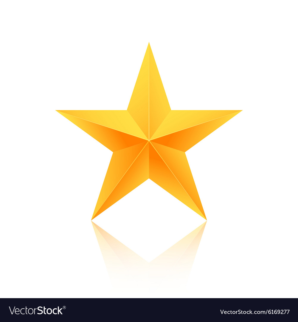 Realistic Isolated Gold Star with Reflection