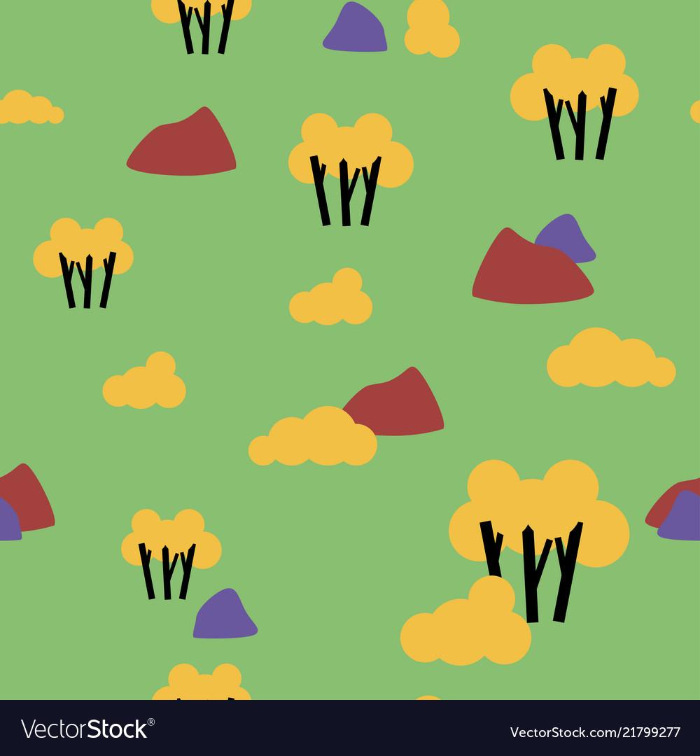 Retro autumn nature forest pattern