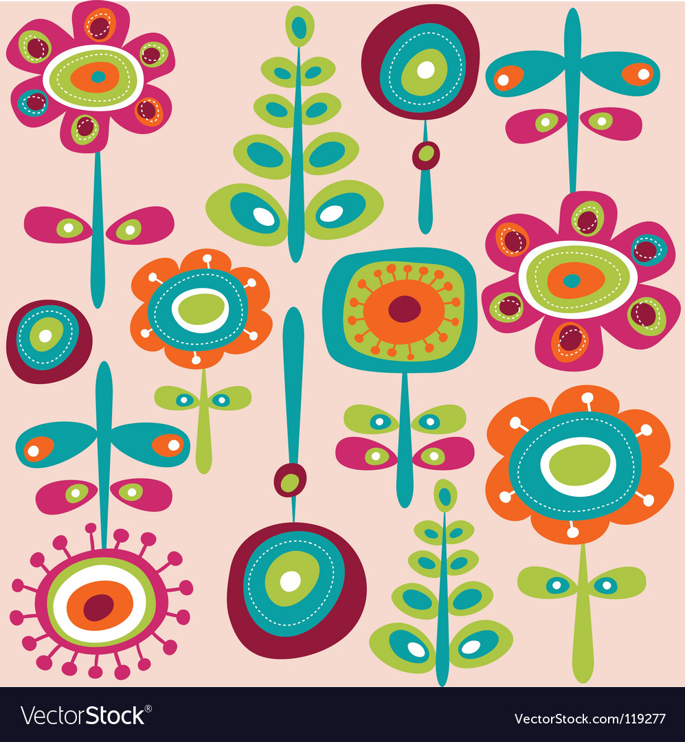 Retro flowers background