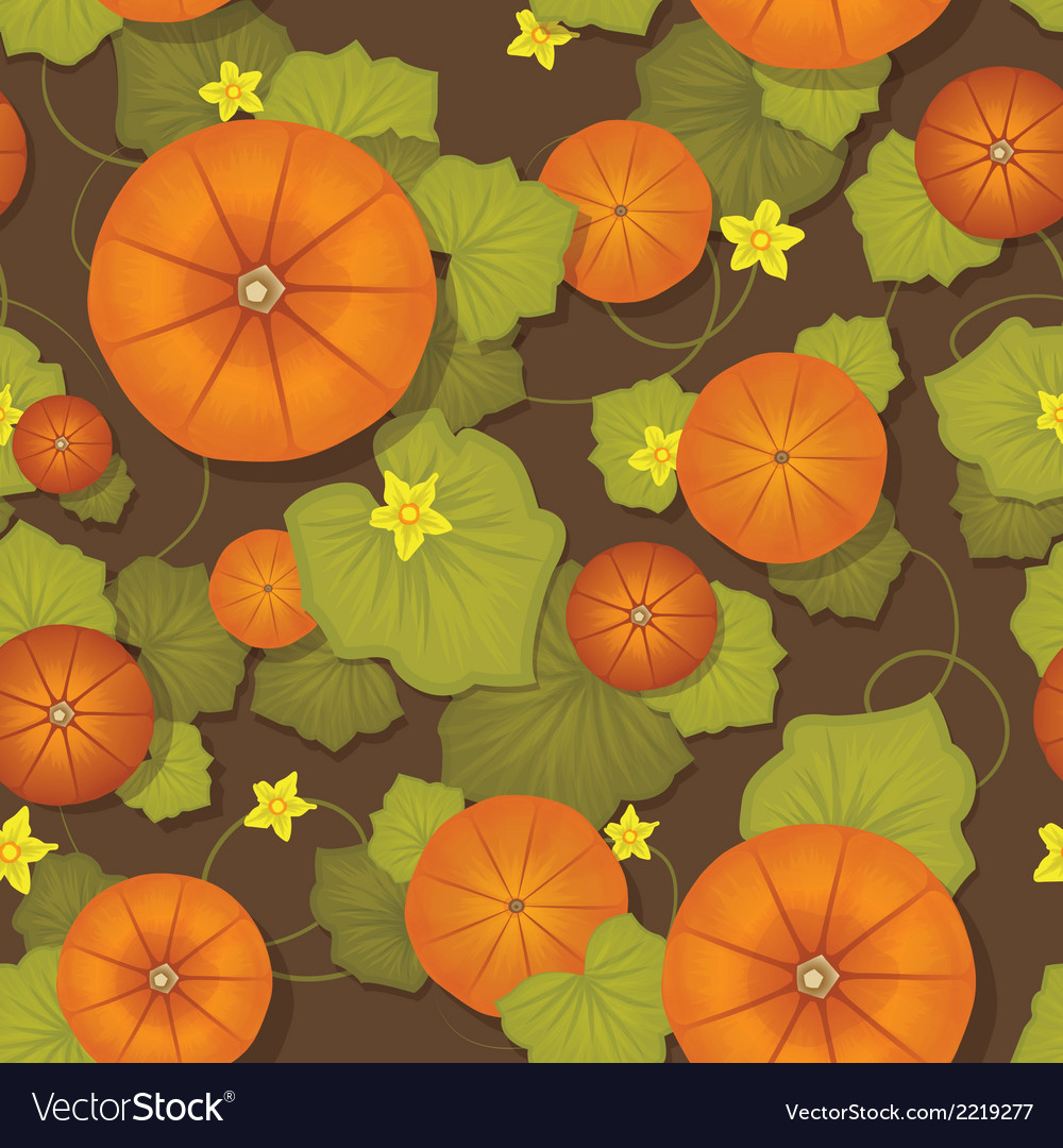 Seamless pattern Pumpkins with leaves