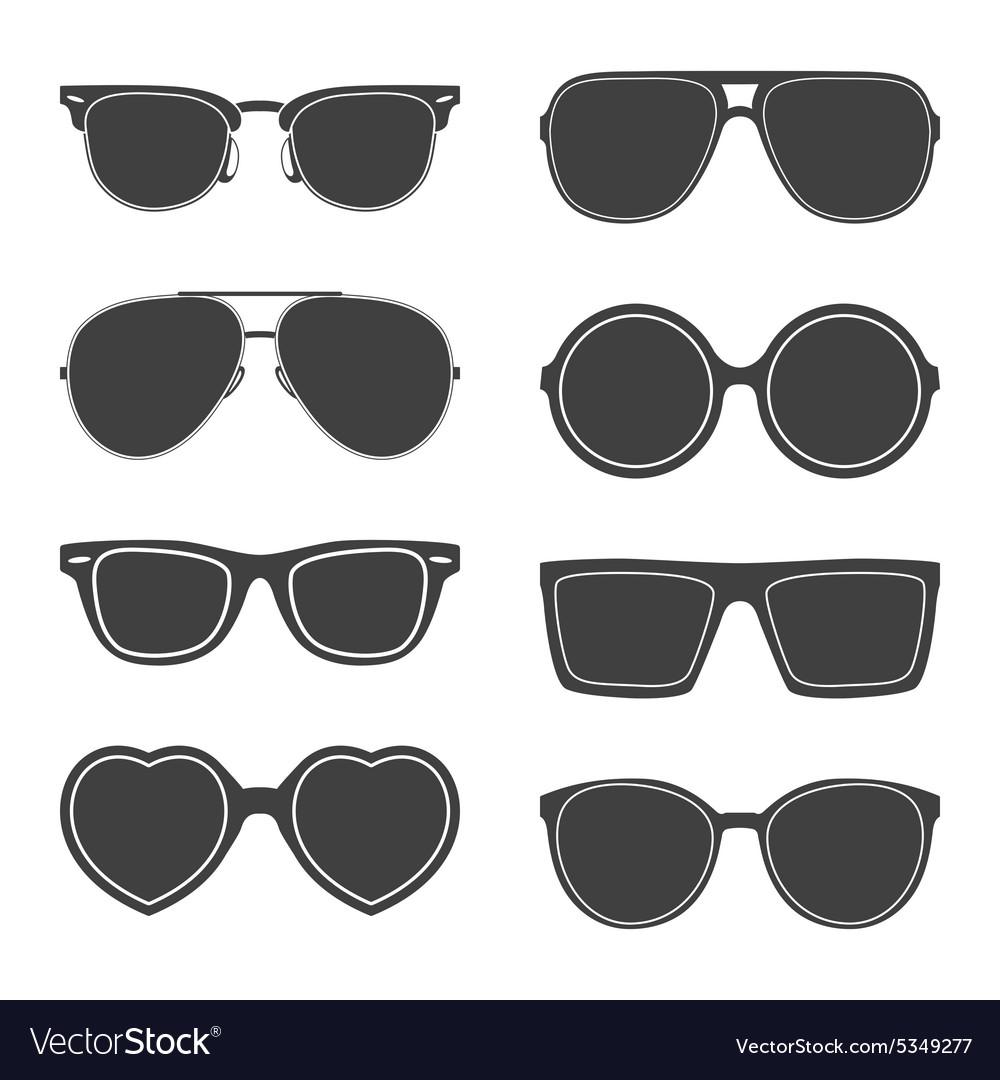 Set of sunglasses silhouettes