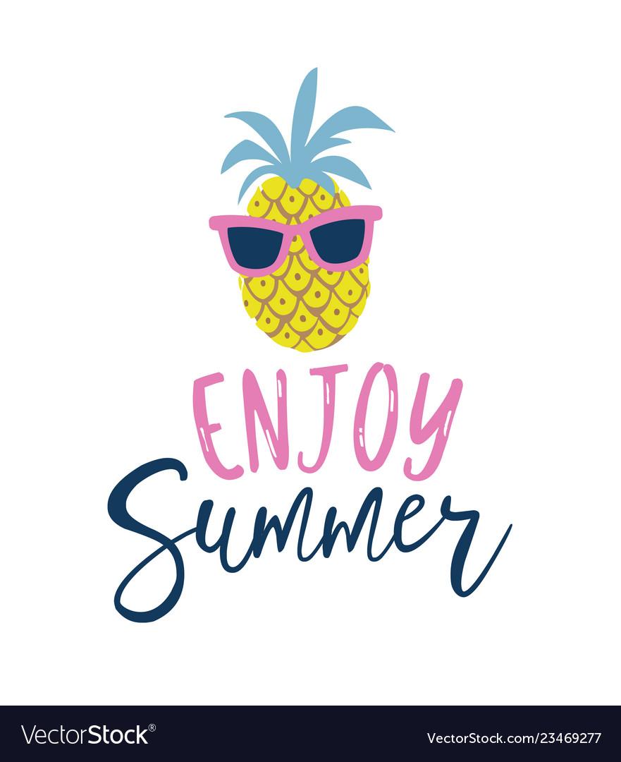 Summer cartoon style pineapple in sunglasses label