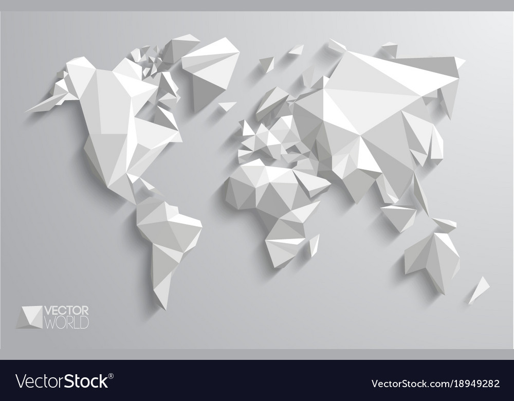 3d polygonal world map royalty free vector image 3d polygonal world map vector image gumiabroncs Gallery