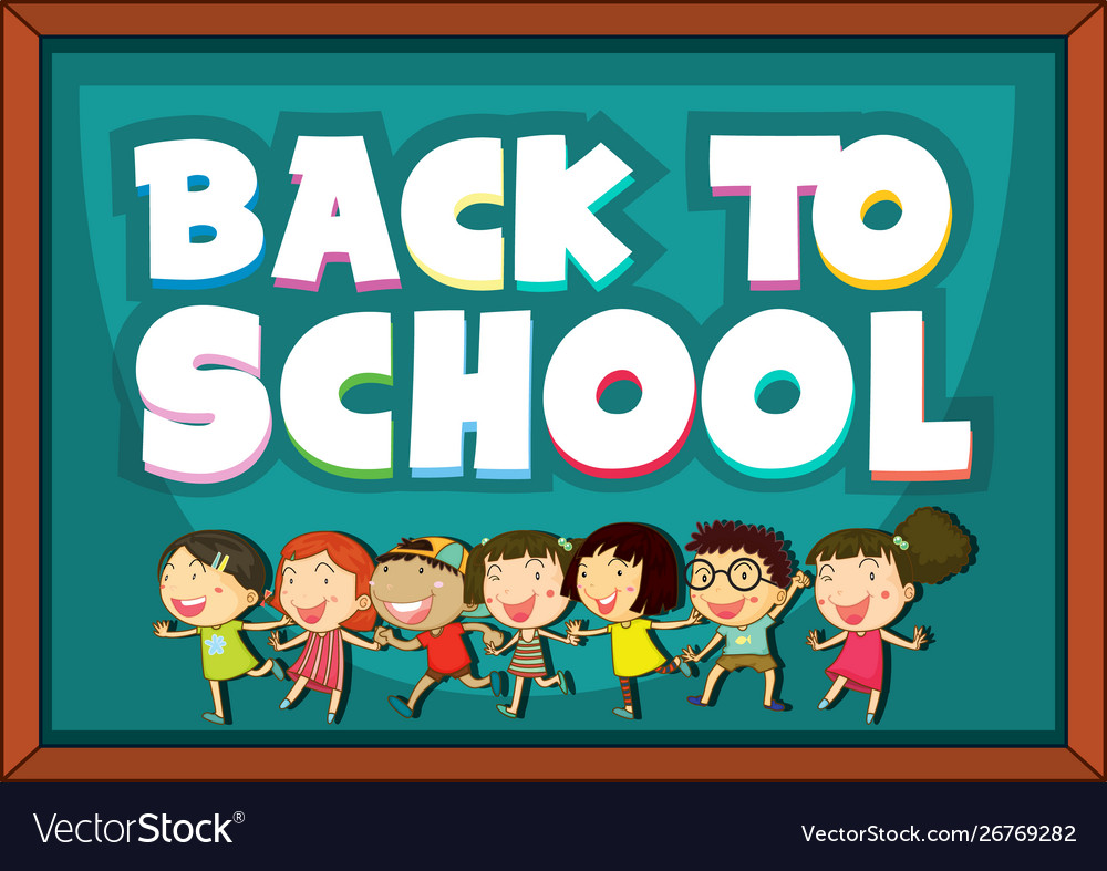 Back to school template with happy children vector