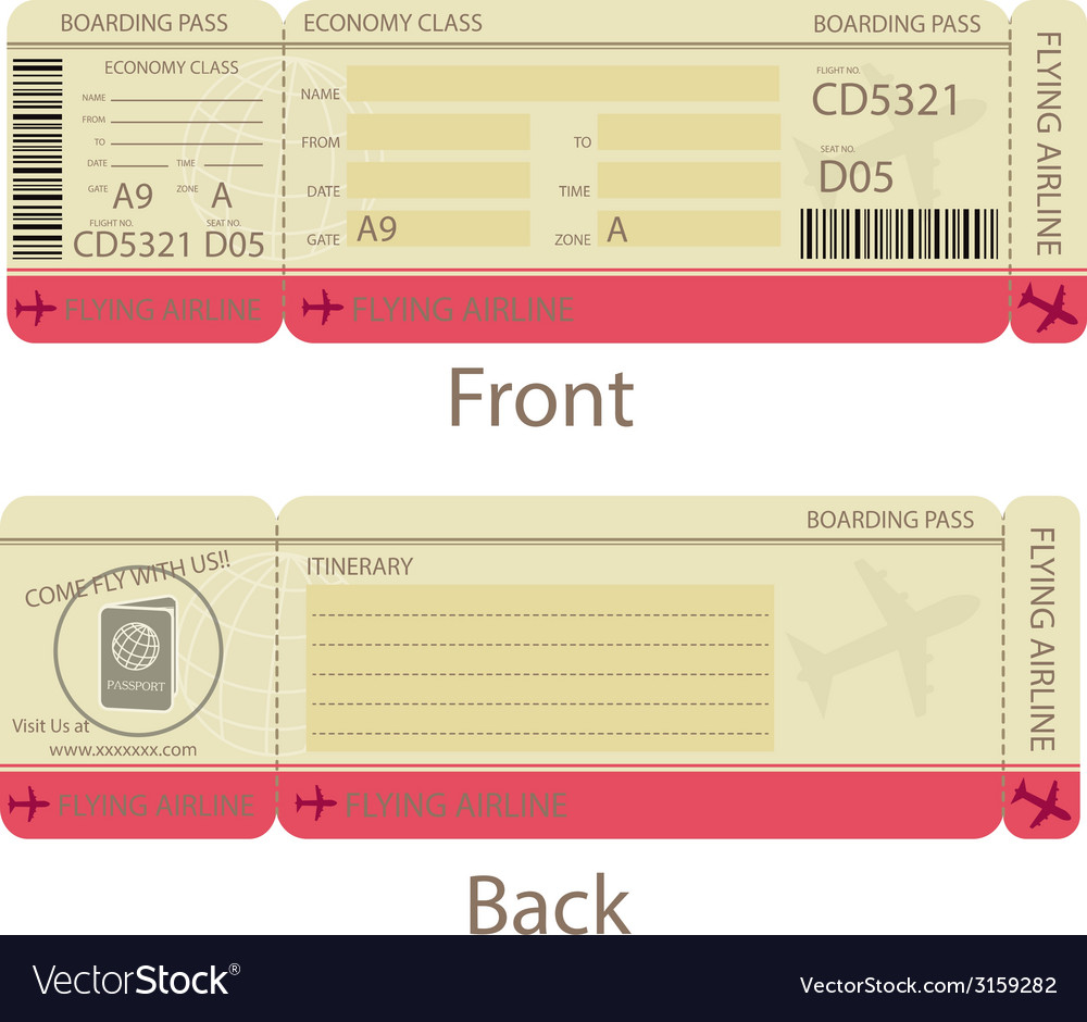 Boarding Pass Design Template Royalty Free Vector Image