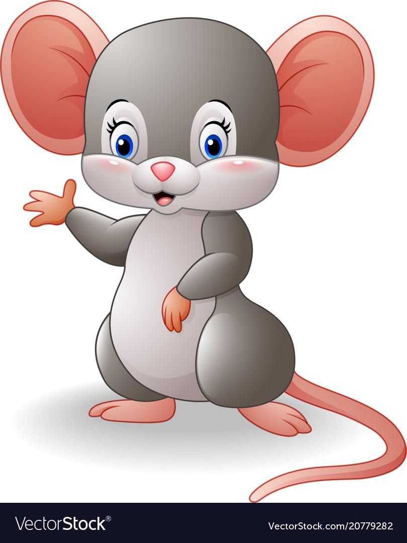 Cartoon mouse waving hand