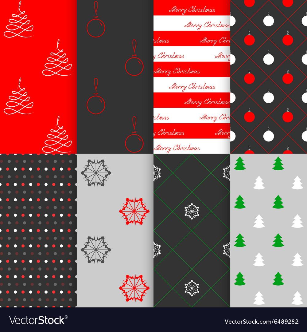 Christmas and New Year seamless pattern set