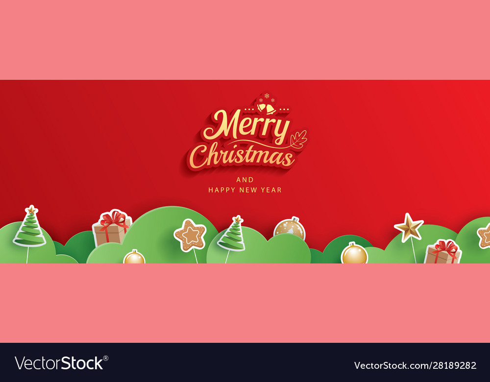 Merry christmas and happy new year red greeting vector