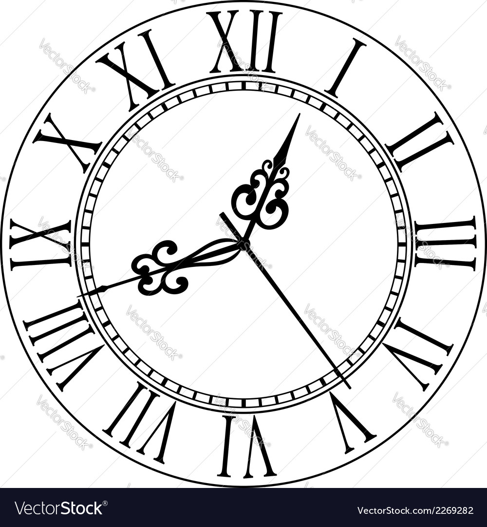 old clock face with roman numerals royalty free vector image